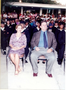 My sister Sarah and I at a technical school graduation in Mexico