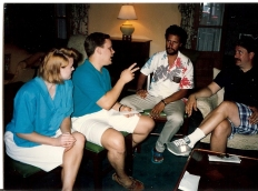 Michelle and I conversing with two of my paternal uncles