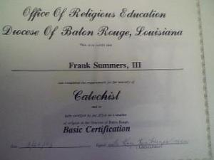 My Certification as a Catechist for the Diocese of Baton Rouge