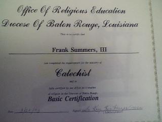certificate catech.