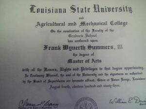 My graduate degree diploma