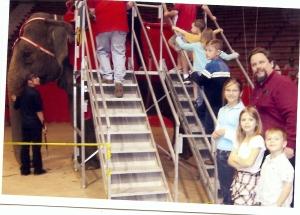 Nieces Alyse & Anika and nephew Soren About to ride elephant