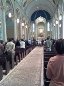 View of Bubba's funeral from near the church entrance looking at the altar.