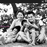 My godson Mark John Braña with his wife and children in the Philippines