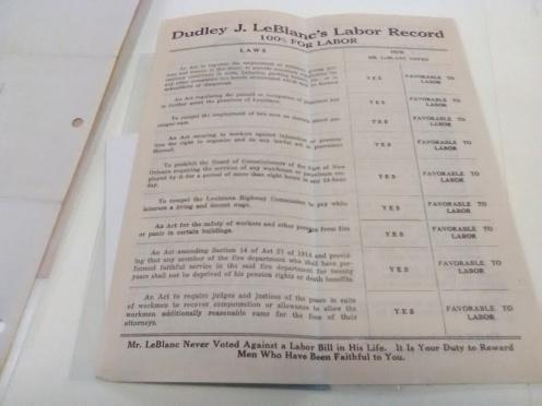 Dudley Leblanc Labor record sheet.